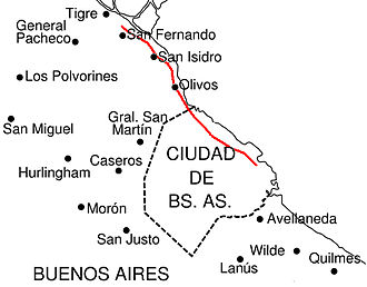 Avenida del Libertador - Approximate route