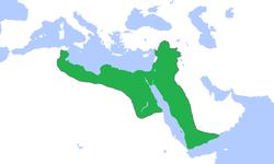 Greatest extent of the Ayyubid empire under Saladin in 1188