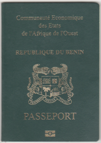 Beninese passport - Beninese biometric passport front cover