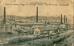 Compagnie des forges et aciéries de la marine et d'Homécourt - Pre-1914 postcard of the works at Saint-Chamond, Loire