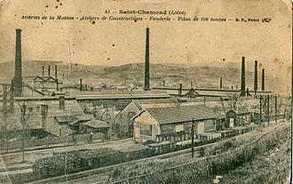 Compagnie des forges et aciéries de la marine et d'Homécourt - Pre-1914 postcard of the works at Saint-Chamond, Loire