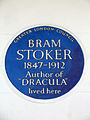 BRAM STOKER 1847-1912 Author of DRACULA lived here.JPG