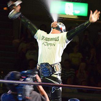 Los Ingobernables de Japon - Bushi as the IWGP Junior Heavyweight Champion in September 2016