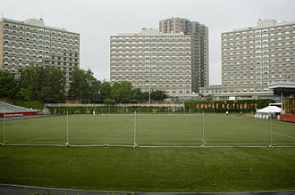 Boston University Housing System - West Campus' three high-rise dorms overlook Nickerson Field.