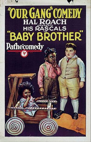 "Our Gang - Original theatrical poster for the Our Gang comedy Baby Brother, in which Allen ""Farina"" Hoskins (center) paints a black baby with white shoe polish so that he can sell him to a lonely rich boy, Joe Cobb (right), as a baby brother"
