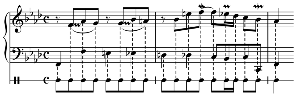 Bach, Sinfonia in F minor BWV 795, mm. 1-3a composite rhythm