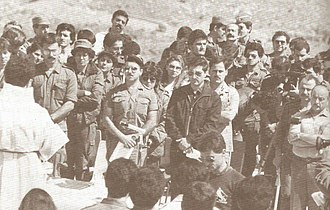 Bachir Gemayel - Bachir attending mass at a training camp
