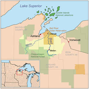 Bad River Band of the Lake Superior Tribe of Chippewa Indians - Location of the Bad River Reservation in northern Wisconsin (orange-brown shade)