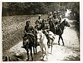 Baggage, etc, of a cavalry brigade (Meerut Cavalry Brigade) on the march (near Fenges, France). Photographer- H. D. Girdwood. (13874775645).jpg