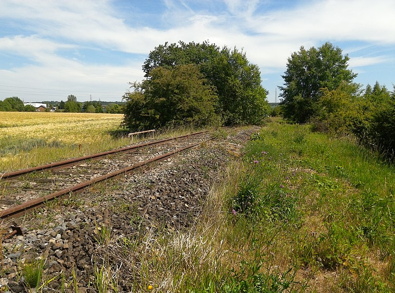 Ehemalige Bahnstrecke Fontoy–Audun, Frankreich. Im Hintergrund die D59A.