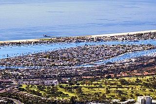 Balboa Island, Newport Beach Neighborhood of Newport Beach, California on an island in Newport Harbor