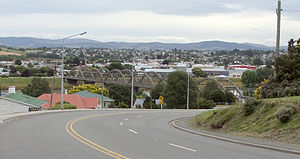 Balclutha, New Zealand - Looking across the Clutha towards the town centre. The distinctive road bridge is visible in the centre of the picture