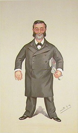 "Walter Foster, 1st Baron Ilkeston - ""The Ilkeston Division"" Foster as caricatured by ""Spy"" (Leslie Ward) in Vanity Fair, October 1894"