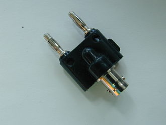 Banana connector - Adapter between a female BNC connector and a pair of banana plugs