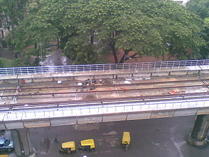 Tracks being laid for the bangalore metro