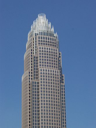 Uptown Charlotte - Located at 100 North Tryon Street in Charlotte, the Bank of America Corporate Center stands 871 ft tall and is the 118th tallest building in the world.