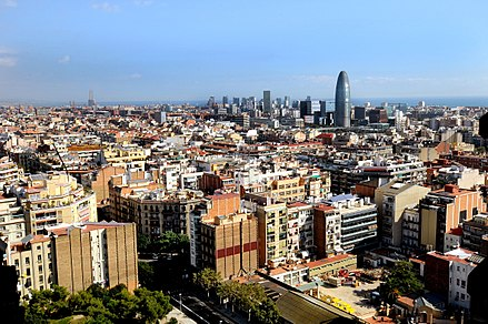 Barcelona, the third largest metropolitan area on the Mediterranean Sea (after Istanbul and Alexandria) and the headquarters of the Union for the Mediterranean Barcelona skyline.jpg