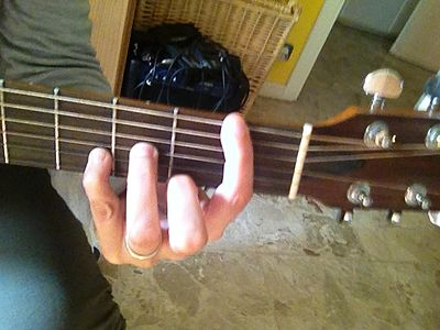 Barrè con forma di re minore chitarra - d minor bar chord shape guitar.JPG