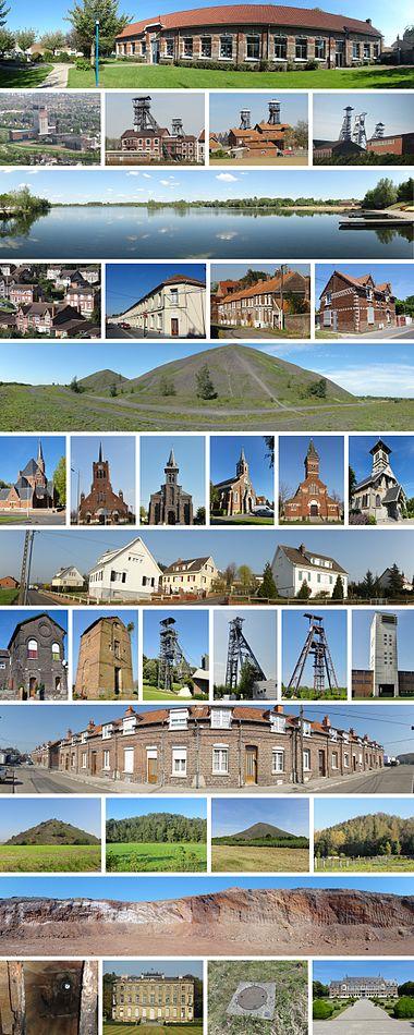 Fireogtredive repræsentative udsyn af bygninger og landskaber for minedrift:   skoler, kirker, minearbejderboliger, slotte, store kontorer, bevarede miner, elevatortårne, slaggebunker, søer ...