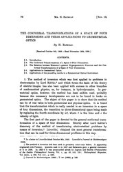 The Conformal Transformations of a Space of Four Dimensions and their Applications to Geometrical Optics