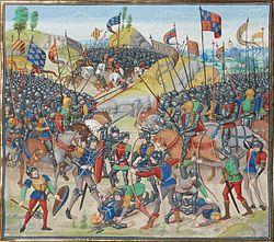 La bataille d'Auray, miniature par Jean Froissart.
