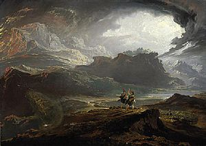 Siward, Earl of Northumbria - Anachronistic early 19th-century depiction by John Martin of Mac Bethad (centre-right) watching Siward's Northumbrian army approaching (right)