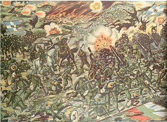 Kilkis - Lithography of the Battle of Kilkis (Second Balkan War), 1913.