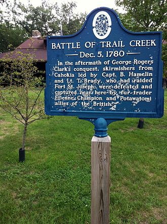 Trail Creek (Lake Michigan) - In the 1780 Battle of Trail Creek 16 Americans and Frenchmen led by Capt. Hamelin and Lt. John Brady were badly defeated by the British and their Potawotami allies.