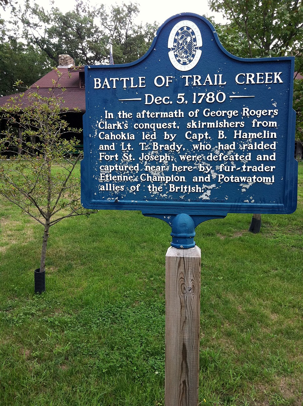 Battle of Trail Creek marker Liberty Trail, Michigan City, Indiana 2011-08-07