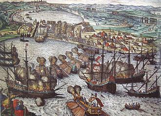 Botafogo (galleon) - Image: Battle of Tunis 1535 Attack on Goletta