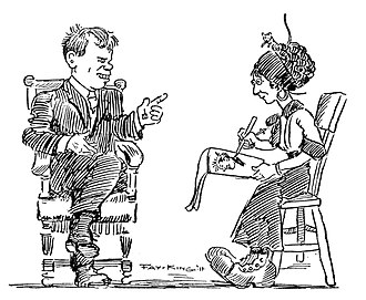 """Fay King (cartoonist) - 1911 self-cartoon of her future husband (""""Battling"""" Nelson) and herself."""