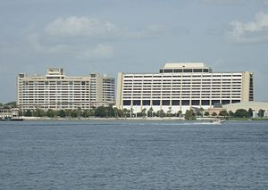 Bay Lake Tower - The large size of Bay Lake Tower (left) next to Disney's Contemporary Resort has been criticized.