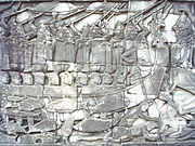 This bas relief at the late 12th century Angkorian temple called the Bayon depicts Cham mariners in action against the Khmer.