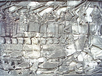 Chams - Depiction of fighting Cham naval soldier against the Khmer, stone relief at the Bayon
