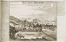 Rovereto intorno al 1700. Acquaforte.