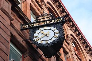 English: Clock at Belfast Telegraph, 124-144 R...