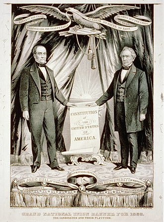 1860 Constitutional Union Convention - A Constitutional Union campaign poster, 1860, portraying John Bell and Edward Everett, respectively the candidates for President and Vice President. Once Lincoln was inaugurated, and called up the militia, Bell supported the secession of Tennessee. In 1863, Everett dedicated the new cemetery at Gettysburg.