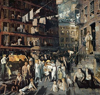 "Lower East Side - ""Cliff Dwellers"" by Bellows, depicting the Lower East Side as it was in the early 20th century"