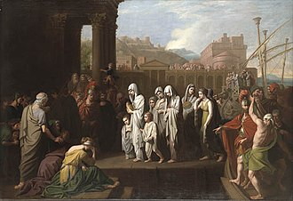 Agrippina the Elder - Benjamin West, Agrippina landing at Brundisium with the ashes of Germanicus (1766), oil on canvas. Yale University Art Gallery, New Haven.