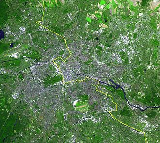 Berlin Wall - Satellite image of Berlin, with the Wall's location marked in yellow