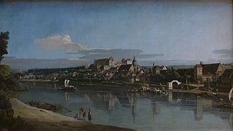 Pirna - View of Pirna from the right bank of the river Elba, near Posta. Painting by Bernardo Bellotto