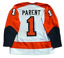 30bd0b93d2d Jersey of goaltender Bernie Parent who played for the Flyers from 1967–68  to 1970–71, and then again from 1973–74 to 1978–79.