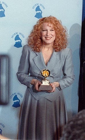 32nd Annual Grammy Awards - Bette Midler holding her Grammy Award