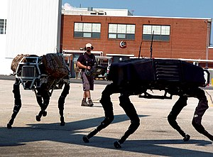 BigDog robots trot around in the shadow of an ...