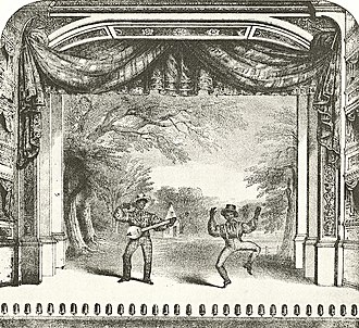 Billy Whitlock - Detail from sheet music cover of Whitlock's Collection of Ethiopian Melodies, 1846. Whitlock is playing banjo, and his parther is either Frank Lynch or John Diamond.