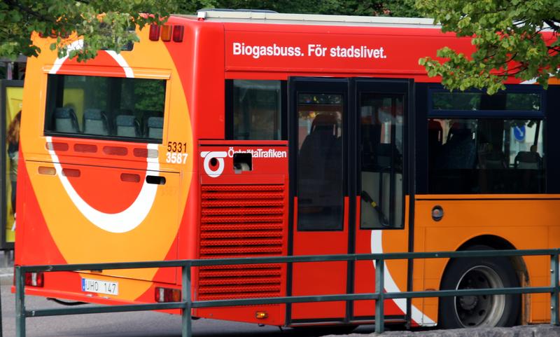Buss drevet på biogass i Linköping. Bilde til fri bruk.