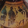 Black-figure painting, Dionysos, kantharos, satyrs, AM Rhodes, Rhom30.jpg