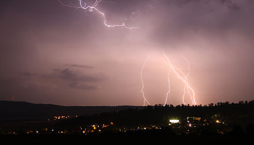 Lightning over little village Diekholzen / Neuhof, Germany, NDS