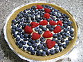 Blueberry pie with raspberry design, August 2009.jpg