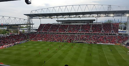 BMO Field is an outdoor stadium that is home to the CFL's Toronto Argonauts and MLS's Toronto FC. Bmo Field 2016 East Stand.jpg